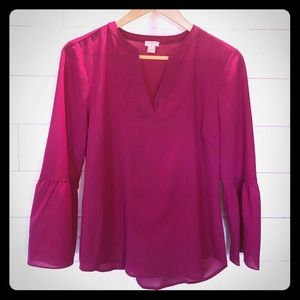 J Crew Fuchsia Blouse with Bell Sleeves. Size S